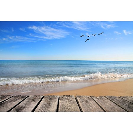 GreenDecor Polyster Beach Themed Backdrop Tropical Sea with Seagulls White Wave Blue Sky Photo Background Photography Studio Prop 7x5ft (Beach Themed Photo Props)