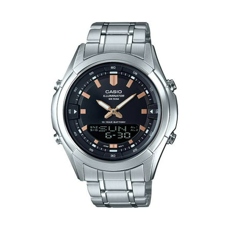 Men's Analog-Digital Stainless Steel Bracelet Watch - -
