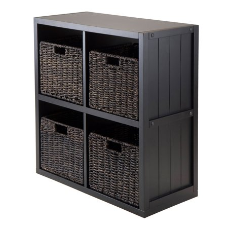 5-Pc Wainscoting Panel Shelf 2 x 2 Cube with 4 Foldable Baskets ()