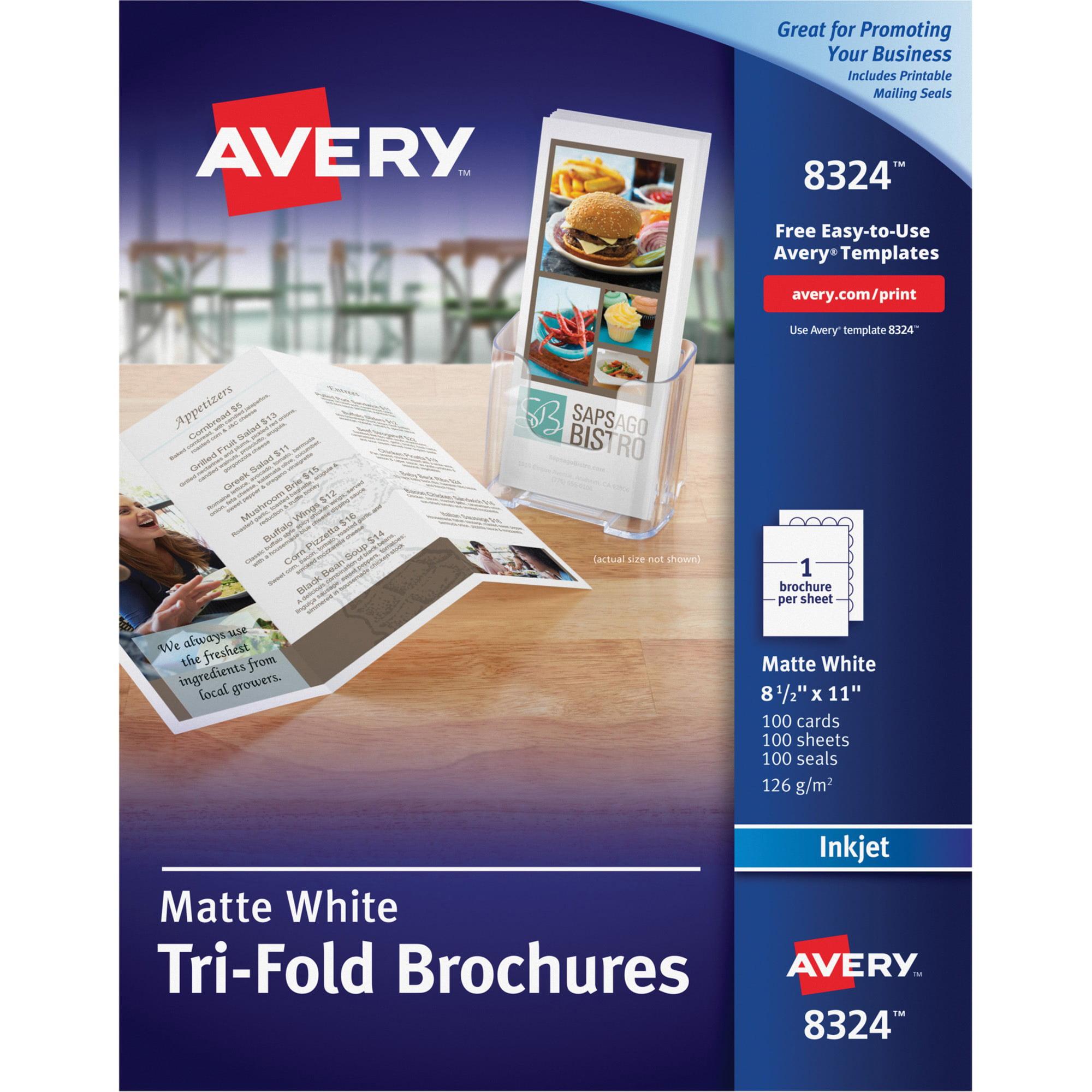 avery tri fold brochures for inkjet printers 8 1 2 x 11 white 100