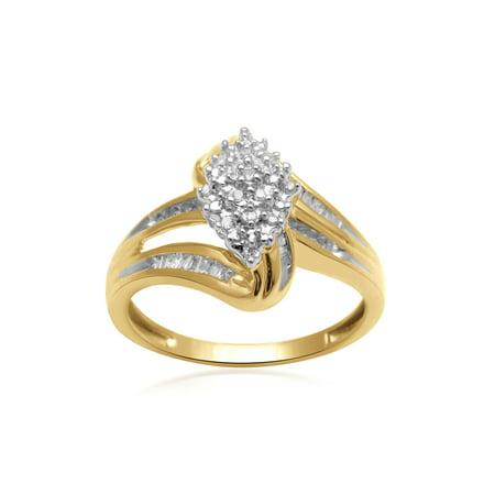 1/5 Carat T.W. Diamond 10kt Yellow Gold Fashion (Yellow Gold Teen Joint Ring)
