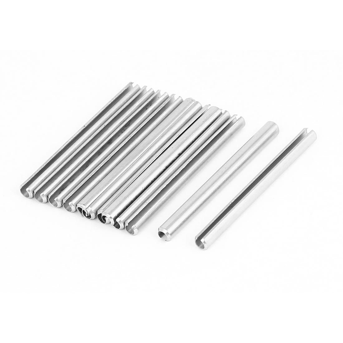 M4x50mm 304 Stainless Steel Split Spring Roll Dowel Pins Fasteners 10Pcs