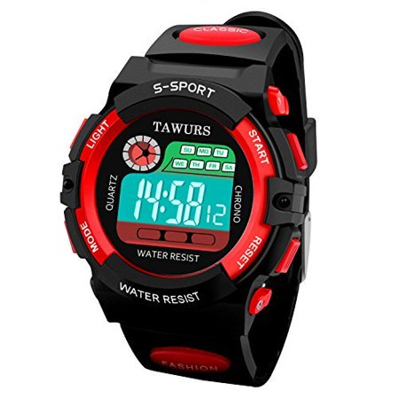 Tawurs Kids Children Watches Sport Outdoor Digital Led Quartz Wrist Watch With Alarm  Light  Calendar  Stopwatch  Precise Time To Seconds 4 13 Boys Girls Watches