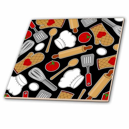 3dRose Cute Chef or Cook Love Pattern in Black - Ceramic Tile, 4-inch (Chef Framed Tile)