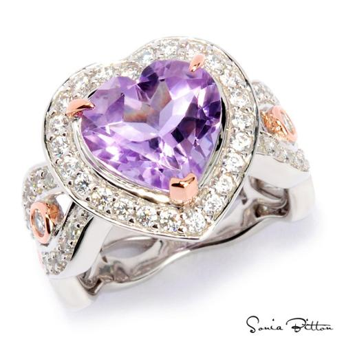 Sonia Bitton Platinum and Rose Goldplated Sterling Silver Amethyst Heart Ring by Overstock