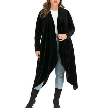 SAYFUT Women's Junior's Plus Size Shawl Collar Open Front Velvet Sweater Cardigan Long Sleeve Waterfall Asymmetric Drape Cardigan Sweater
