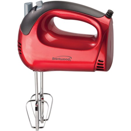 Brentwood HM-46 Lightweight 5-Speed Electric Hand - Red Drink Mixer