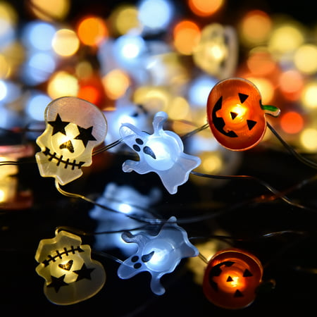 Halloween LED String Lights, Jack O' Lantern, spook skull Lights String on Flexible Copper Wire 12.5 ft 36LEDs,Decorative Lights for Indoor Outdoor Party Decorations F-233 ()