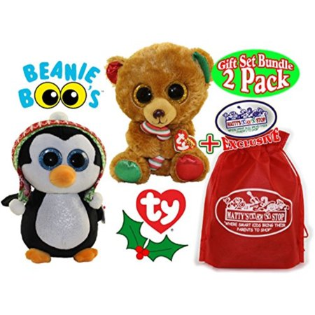 3bd2bae1409 TY Beanie Boos Bella (Brown Bear)   Penelope (Penguin) Holiday ...