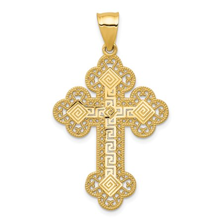 14kt Yellow Gold Budded Greek Key Cross Religious Pendant Charm Necklace Fine Jewelry Ideal Gifts For Women Gift Set From Heart