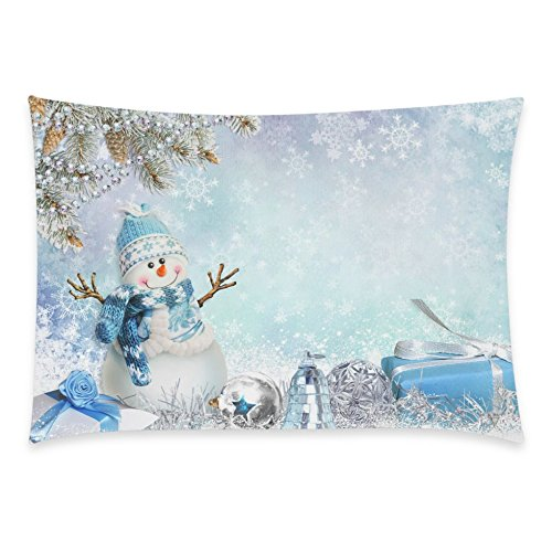 ZKGK Christmas Gifts Snowman Pillowcase Standard Size 20 x 30 Inches for Couch Bed, Beautiful Snow Snowflake Pine Branches Pillow Cases Cover Set Pet Shams Decorative