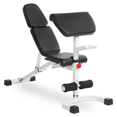 Xmark Fid Weight Bench With Preacher Curl White