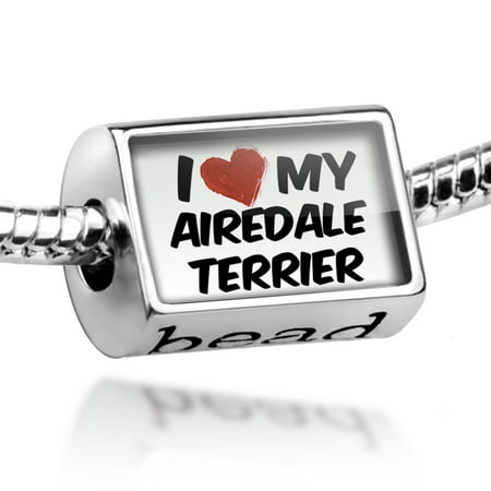 Airedale Dog Charm - Bead I Love my Airedale Terrier Dog from England Charm Fits All European Bracelets