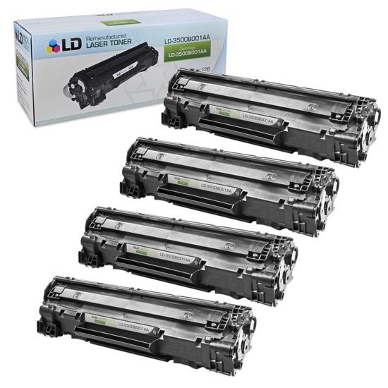 LD Remanufactured Canon 3500B001AA (128) Set of 4 Black Laser Toner Cartridges