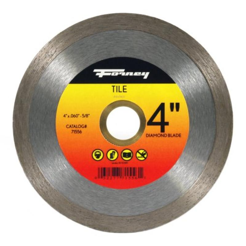 "4"" Continuous Rim Diamond Tile Cutting Blade w/5/8"" Through 7/8"" Arbor Forney"