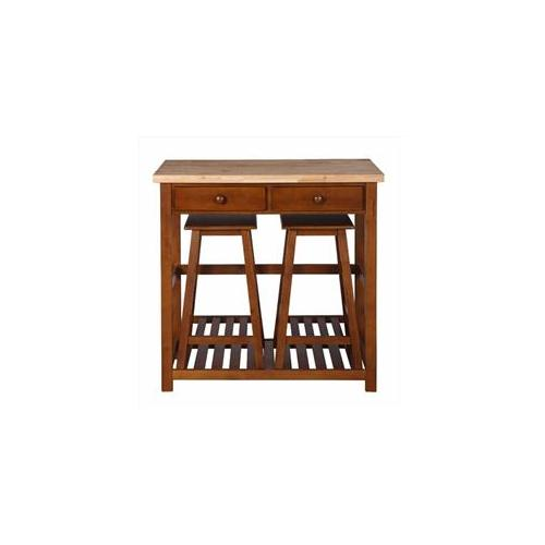 Kitchen Island Spacesaver Set with Stools, Natural and Walnut