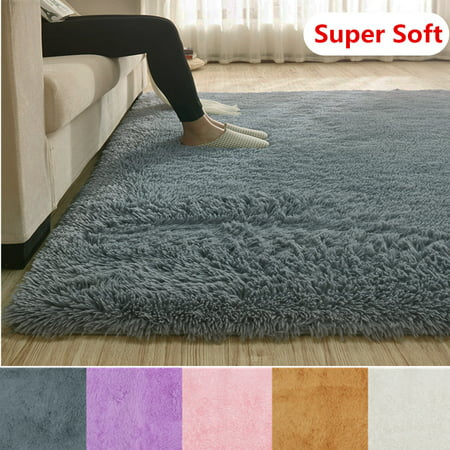 4 Sizes Modern Rectangle Soft Fluffy Floor Rug Anti-skid Shag Shaggy Area Rug Bedroom Dining Room Carpet Yoga Mat Child Play Mat ()