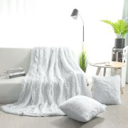 Faux Fur Ultra Plush Decorative Throw Blanket with 2 Plush Pillow Covers White