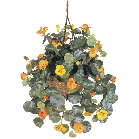 Nearly Natural 22-in. Artificial Nasturtium Silk Hanging Basket (Hanging Artificial Flower Baskets)