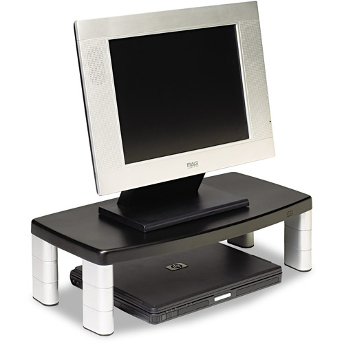 "3M MS90B Adjustable Extra Wide 20""W Monitor Stand, Black/Silver"