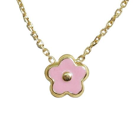 Enamel Flower Daisy - BecKids - 18k Gold Pink Enamel Daisy Flower Pendant Necklace - 14