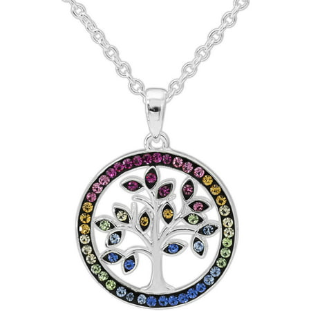 Crystal Fine Silver-Tone Tree of Life Pendant with Chain
