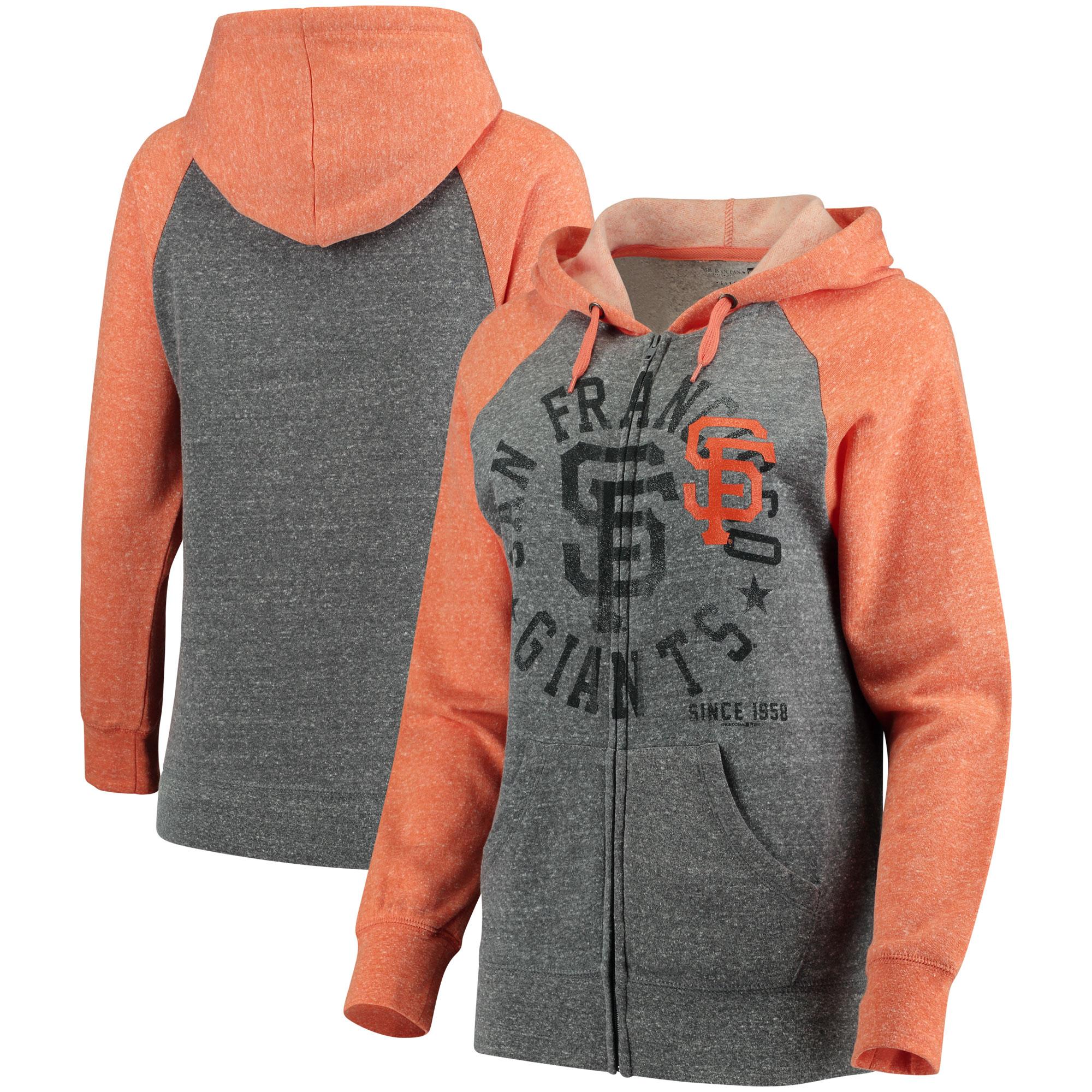 San Francisco Giants 5th & Ocean by New Era Women's Tri-Blend Raglan Fleece Full-Zip Hoodie - Heathered Gray/Orange