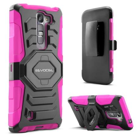 LG Volt 2 (LS751) Case, Evocel [Belt Clip Holster] [Kickstand] [Dual Layer]  New Generation Phone Case for LG Volt 2 LS751 (Boost Mobile), Pink