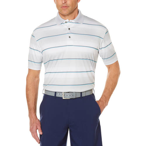 Men's Performance Short Sleeve Paper Texture Printed Stripe Golf Polo