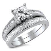 Noori Collection Noori 14k White Gold 1 3/4ct Princess Cut Diamond Bridal Set