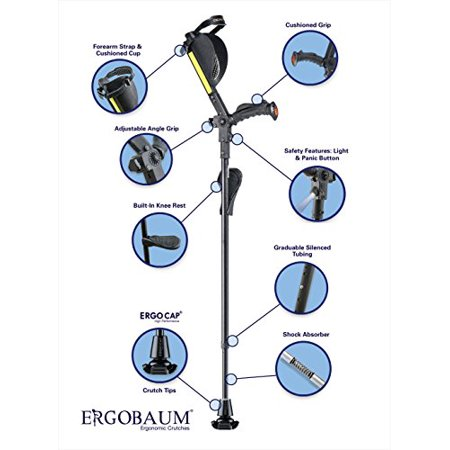 New Generation Ergobaum Ergonomic Crutch/ Cane (Single Unit) Single Unit Ergobaum That Acts As a Extra Balance Strong Performance (Best Cane For Balance Problems)