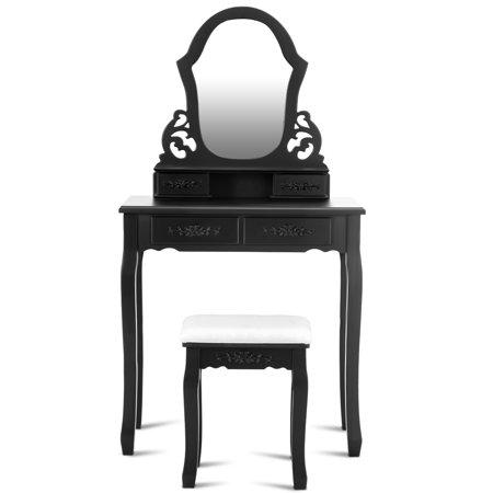 Dressing Set Vanity Mirror Makeup Table Wooden Stool w/ 4 Drawer