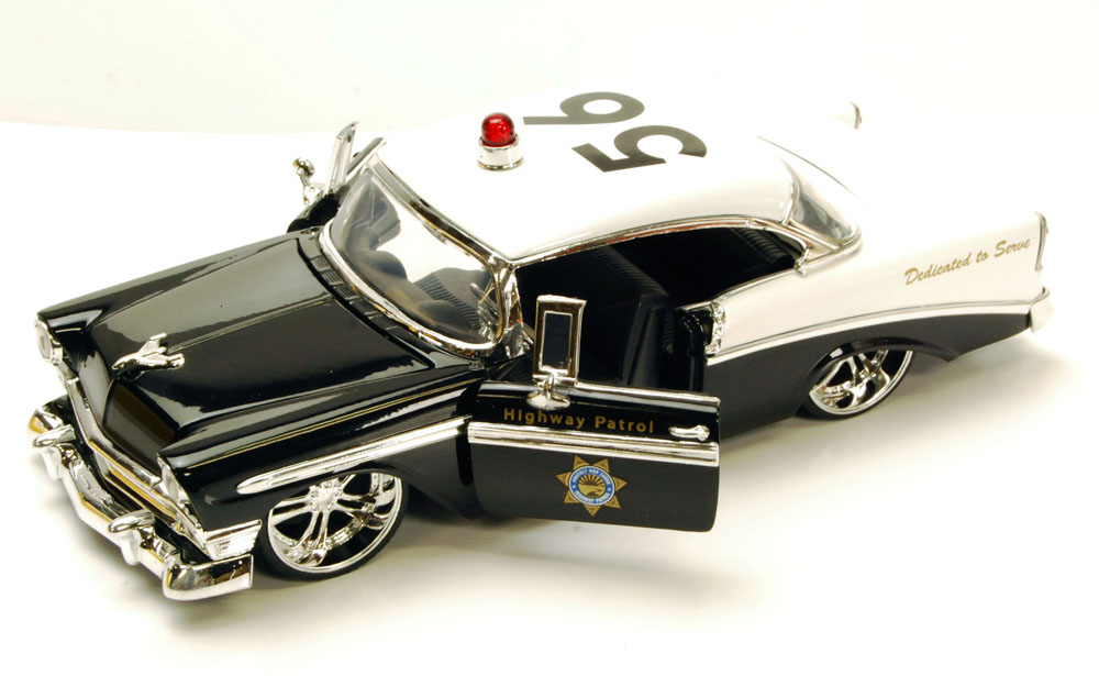 1956 Chevy Bel Air Highway Patrol Car, Black & White Jada Toys Heat 96390 1 24 scale... by Jada