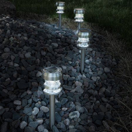 Solar Powered Lights (Set of 4)- LED Outdoor Stake Spotlight Fixture for Gardens, Pathways, and Patios by Pure Garden-Silver