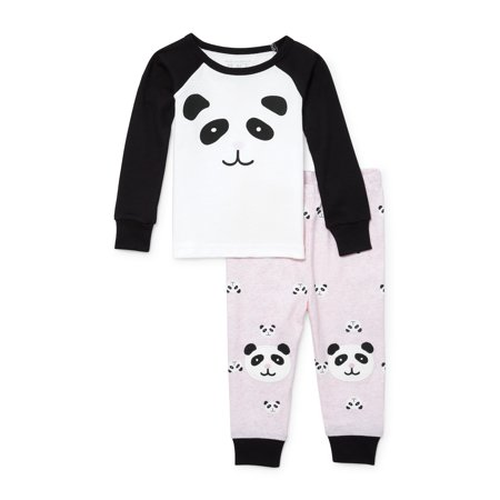 Long Sleeve Panda Print Snug-Fit PJ Set (Baby Girls & Toddler Girls)