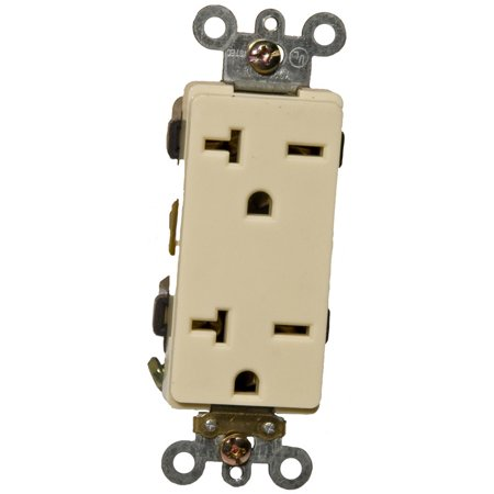 Receptacle Set (20A-250V Industrial Grade Decorator Duplex Receptacle in Ivory [Set of 3])