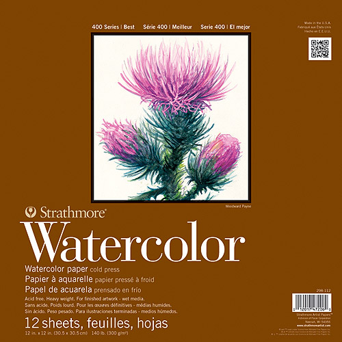 "Strathmore Watercolor Paper Pad, 5.5"" x 8.5"", 140lb, Cold Press, 12 Sheets"