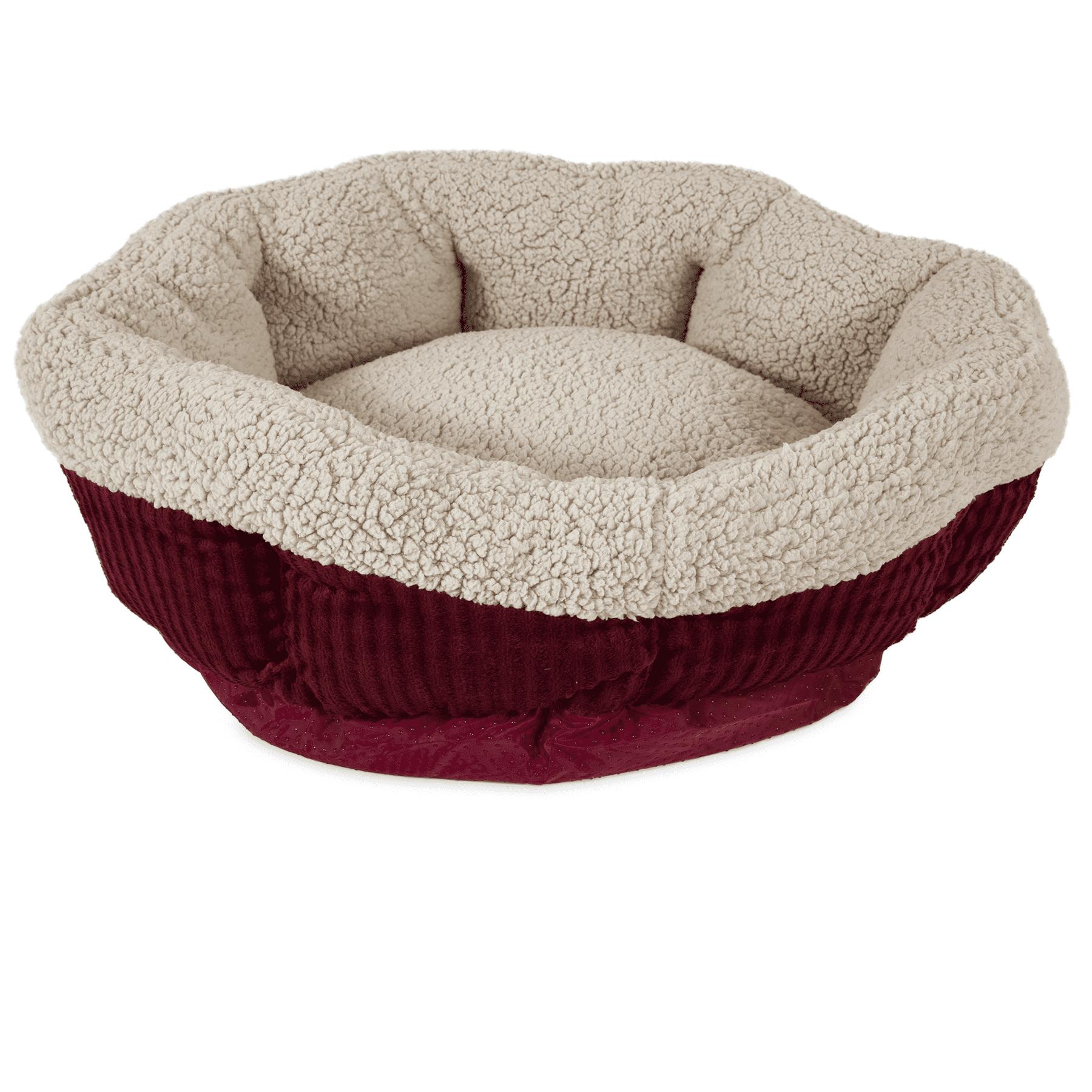 "Aspen Pet Self-Warming Round Cat Bed Creme/Red 19"""