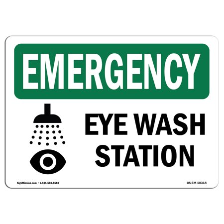osha emergency sign eye wash station bilingual choose from aluminum rigid plastic or vinyl label decal protect your business construction site - Eye Wash Station Osha