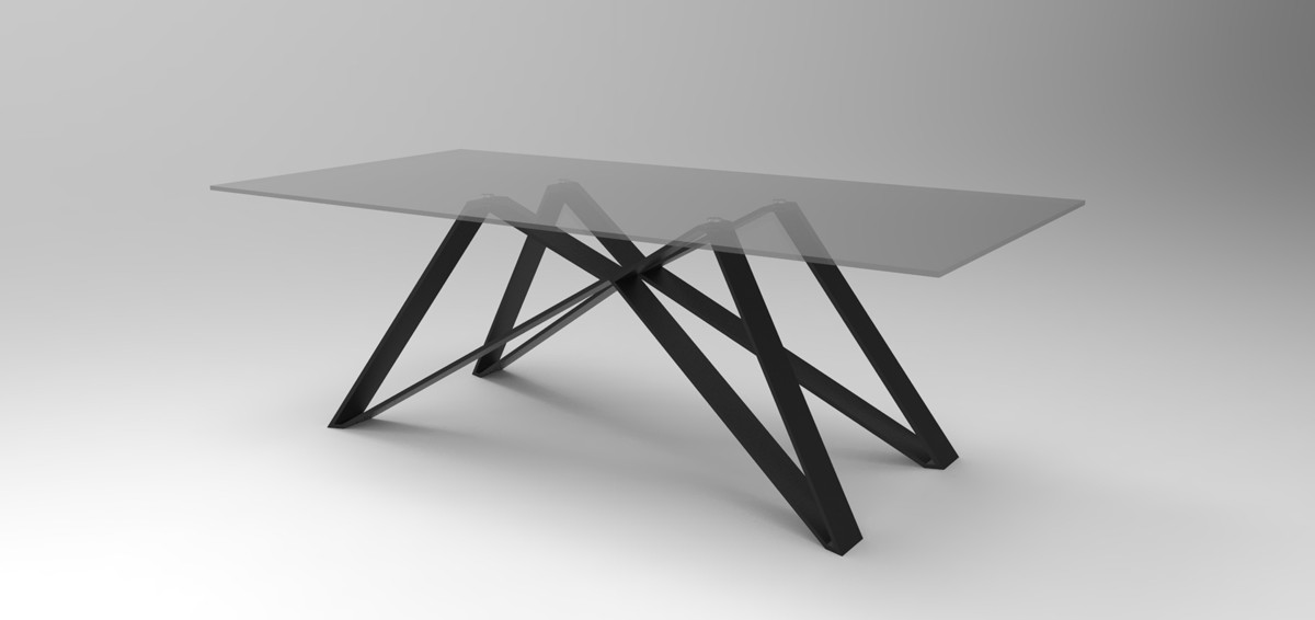 Delightful 1PerfectChoice Modern Rectangular Smoked Glass Top Metal Base Dining Table    Walmart.com