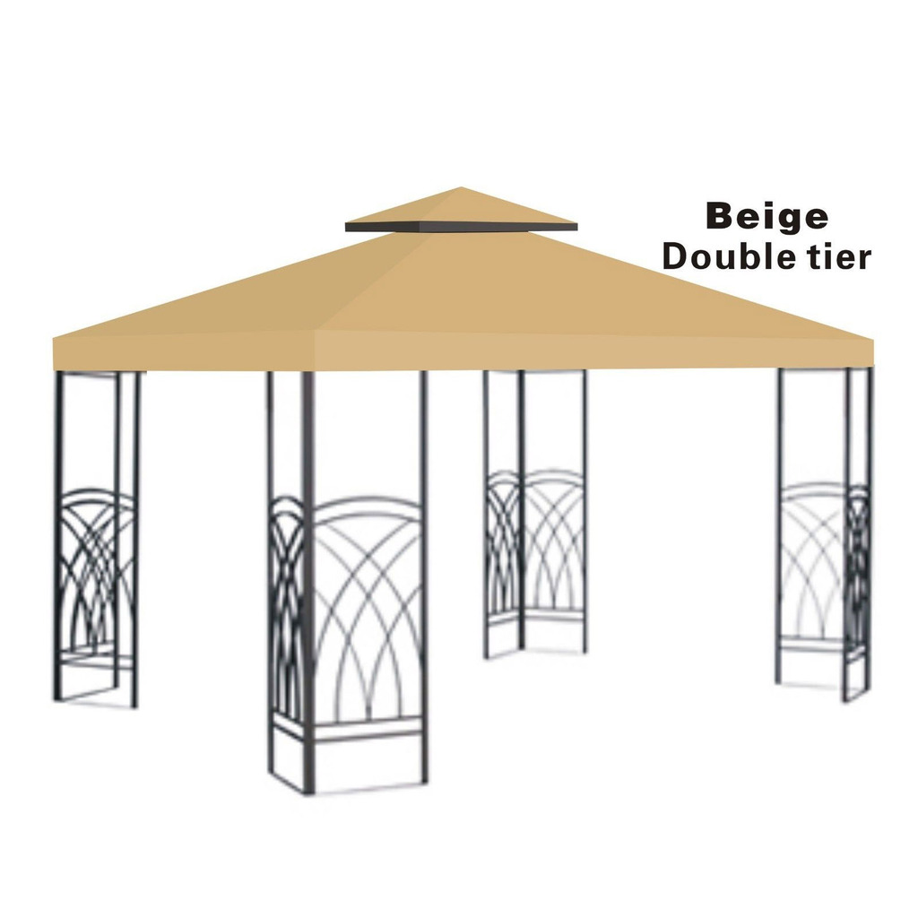10x10' Replacement Canopy Top Patio Pavilion Gazebo Sunshade Polyester Cover-Double Tier by Supplier Generic