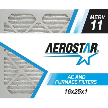 16x25x1 AC and Furnace Air Filter by Aerostar, Model: 16X25X1 M11 - MERV 11, Box of 6 (Ruud Furnace)