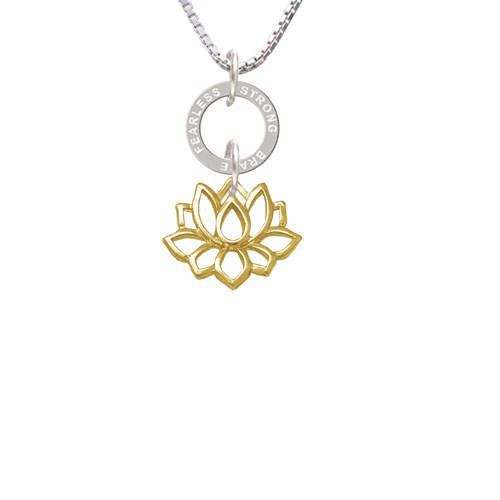 Gold Tone Lotus Outline - Fearless Strong Brave Eternity Ring Necklace