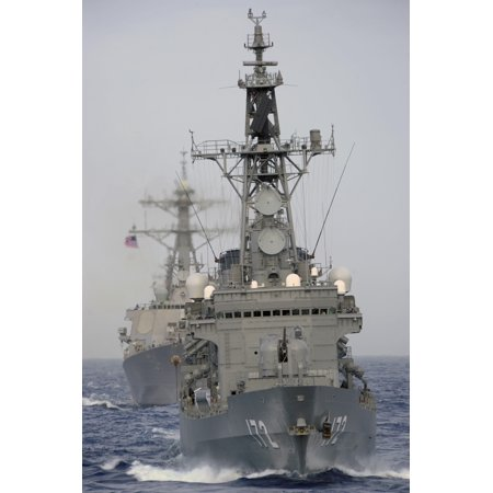 Jds Shimakaze Sails In Formation With Us Navy And Japan Maritime Self Defense Force Ships Poster Print
