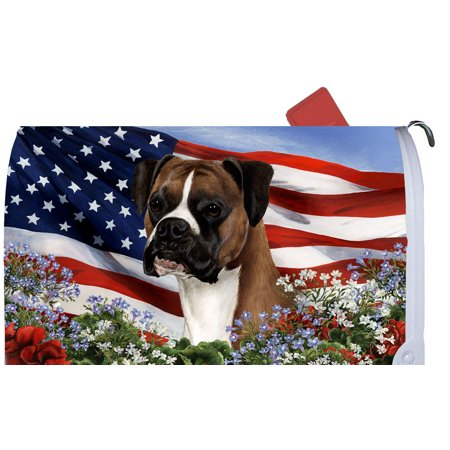 Boxer Fawn Uncropped - Best of Breed Patriotic I Dog Breed Mail Box