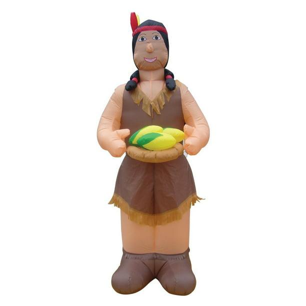 7 1 2 Air Blown Inflatable Thanksgiving Indian Woman Holding Corn Walmart Com Walmart Com