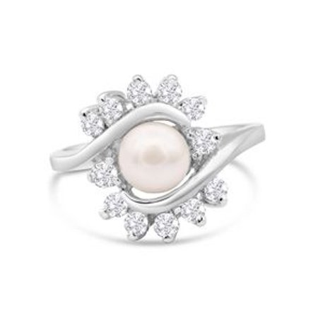 Round Freshwater Cultured Pearl and 1/2 Carat Halo Diamond Ring In 14 Karat White