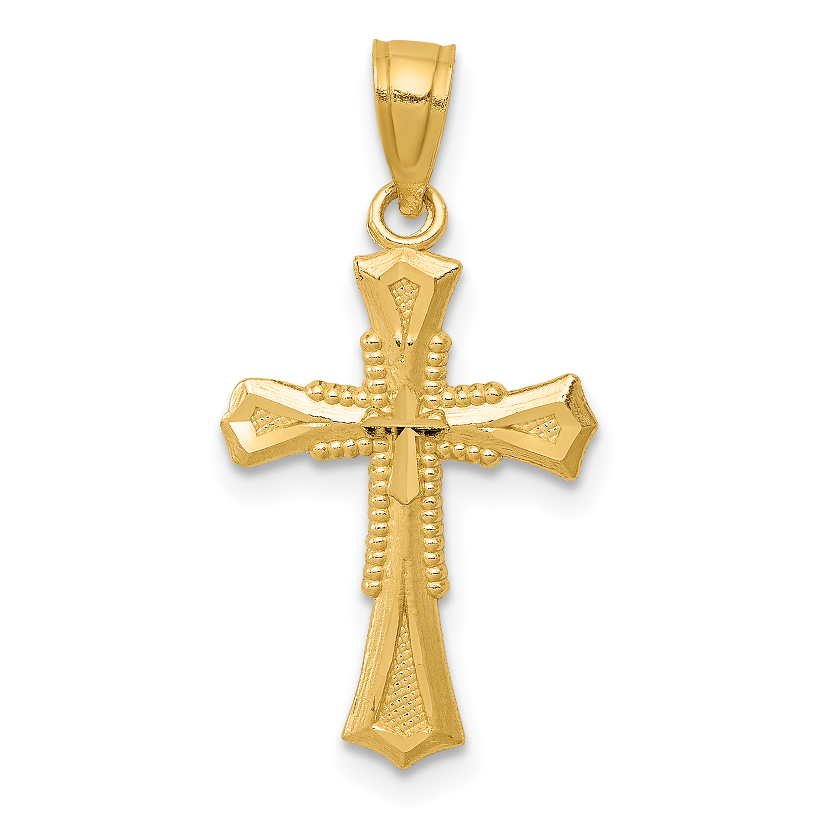 Polished 14k Yellow Gold Fleur de Lis Cross Charm Pendant