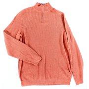 Tasso Elba NEW Orange Mens Size Large L Quarter Zip Ribbed Knit Sweater $39