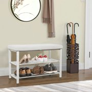 FurnitureR Shoe Rack Bench, Entryway 2-Tier Shoe Organizer, Metal Storage Shelf with Cushion for Boots, Modern Stool for Bedroom Living Room,Grey